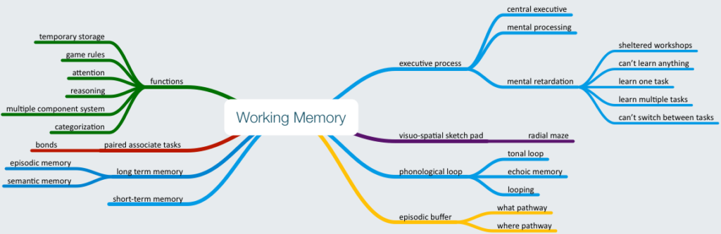 Mind map about Working Memory
